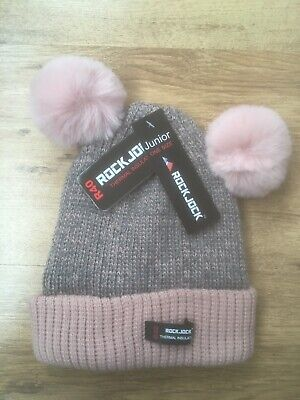 Girls Pink And Grey Thermal Hat With Dual Pom Poms