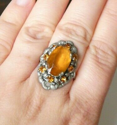 Vintage Czech Filigree Dress Ring Art Deco 20s 30s Orange Paste Glass Stones