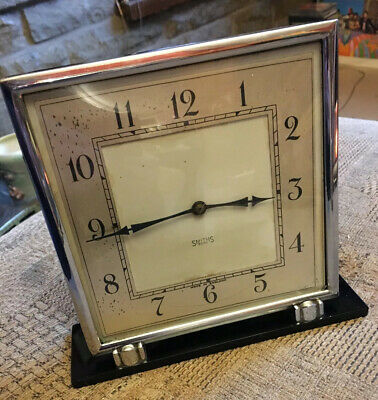 Smiths Vintage Art Deco Mechanical 8 Day Mantel Clock - Glass & Chrome - Working