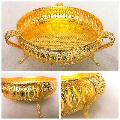 Gold Plated Round Footed Indian Gallery Tray Plate Paan Leaf Tea Tray Biscuit