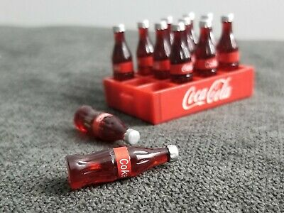 2 Crates of 12 loose dollhouse miniature Cola bottles
