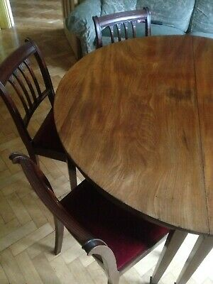 Antique Georgian Mahogany D-End Extendable Dining Table 6 Matching Chair Gateleg