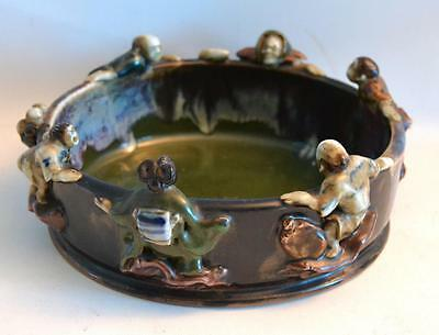 Vintage 1950s Japanese Sumida With 3-D Figures Bowl 8.25""