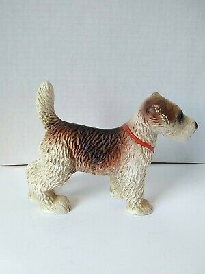 Cast Iron Wire Haired Fox Terrier Painted Dog Statue Doorstop