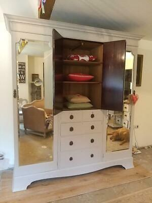 Substantial  Painted  Victorian Triple Wardrobe Comes Apart.