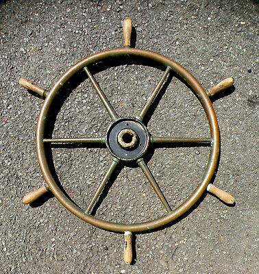 "34"" Antique Solid Brass Ship Steering Wheel, Ships Wheel"