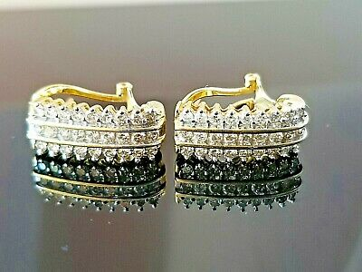 1TCW Fashion Diamond Lined 14k yellow gold earrings