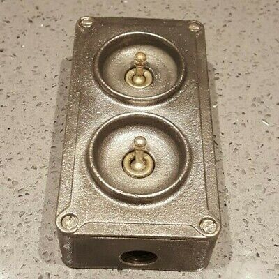 Crabtree Vintage Industrial Factory Double Light Switch Twin 2 Gang Salvaged Old