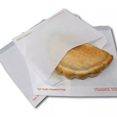 """1000 X Greaseproof White Paper Bags 8.5""""x8.5"""" Food Chips Sweets Fruit Sandwich"""