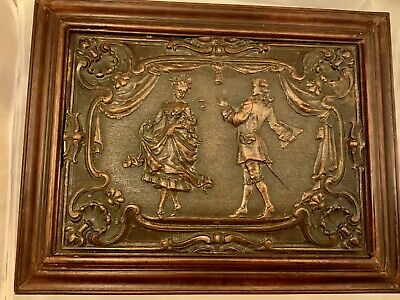 Antique Hand Carved Ornate Wooden Colonial Figures Jewelry Keepsake Treasure Box