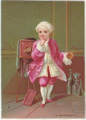 French 18th Century Boy with Large Camera Victorian Card - Photography