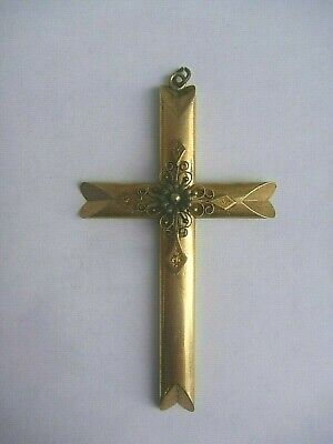 Large Antique Gilt Brass Applied Filigree Decoration Cross Pendant  Rare