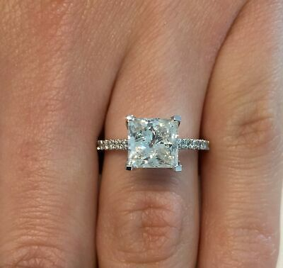 2.69 Carat Princess Cut F/VS2 Diamond Solitaire Engagement Ring 14K White Gold