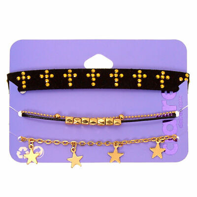 Claire's Girl's Gold Spiritual Chain Bracelets - 4 Pack Black/Gold