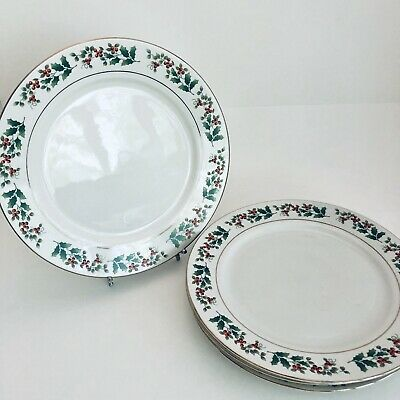 """4 Gibson Everyday Holiday Gold Holly Berry Christmas 10.5"""" Dinner Plates Dishes"""