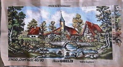 Tapestry Canvas to Stitch Unfinished Project Dorfteich by Rico Gobelin Vintage