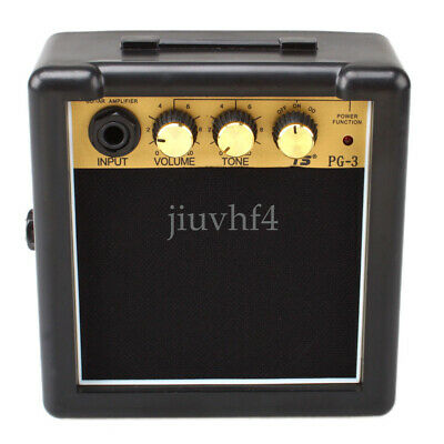 Portable Mini Electric Guitar Amplifier Speaker Speakers Amp 3W Black + Gold