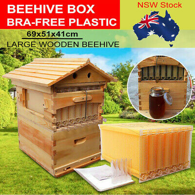 7X Upgraded Auto Honey Beehive Bee hive Frames + Beekeeping Brood Cedarwood Box