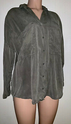ZARA Trafaluc Collection Women's Olive Green Button Up Loose Fit Top Size M