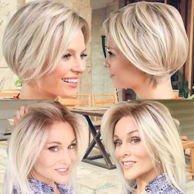 Ladies Women Real Natural Short Straight Hair Wigs BOB Style Cosplay Full Wig