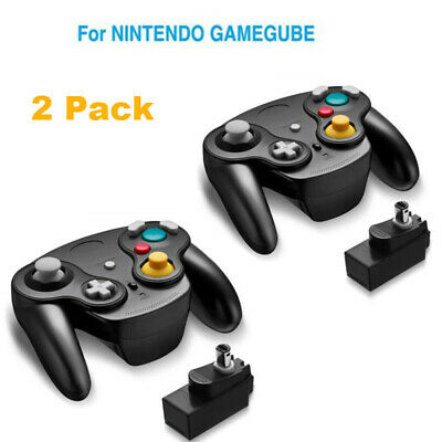 2 x Wireless Gamecube Controller Wavebird Style w/ Adapter for Nintendo NGC GC