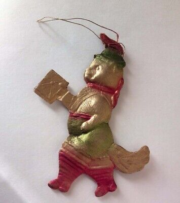 GERMAN DRESDEN VICTORIAN PUSS in BOOTS EMBOSSED FOIL CARDBOARD XMAS ORNAMENT