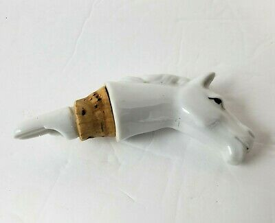 Vintage White Horse Bottle Pourer Wine Beer Spout Horse Head Shaped Breweriana
