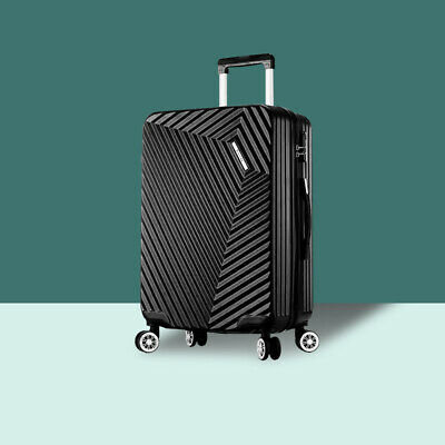 """NEW ABS Hard Shell Cabin Suitcase Case 4 Wheels Luggage Lightweight 24"""" Black"""