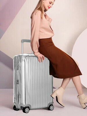 28'' Luggage Travel  Bag ABS Trolley 360° Spinner Carry On Suitcase Silver