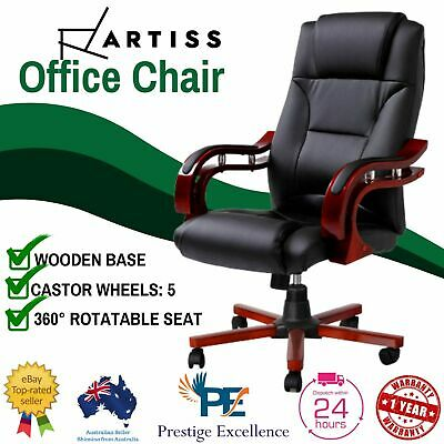 Artiss Office Chair Executive Seating Wooden Computer Chairs Leather Seat Black