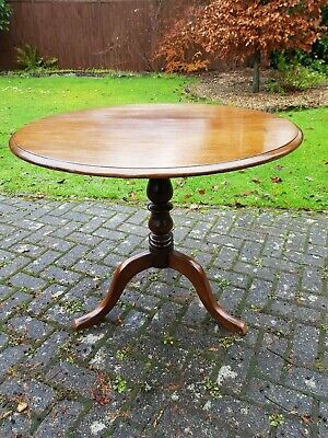 Fine Antique Georgian George III Circular Mahogany Snap Top Tea Supper Table
