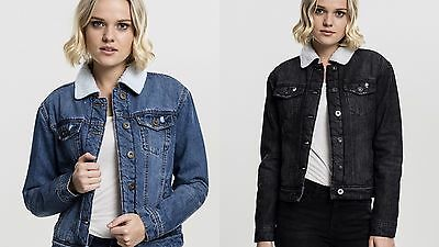 Urban Classics Ladies Sherpa Denim Jacket Giacca in Jeans Donna