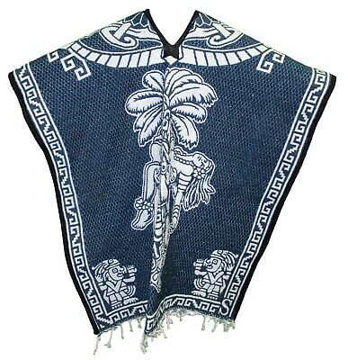 2 SIDED HEAVY BLANKET Mexican PONCHO Tribal 14 NAVY BLUE ONE SIZE FITS ALL Gaban