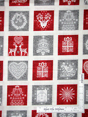 Christmas Scandinavian Heart Check 100/% Cotton Patchwork Fabric Makower