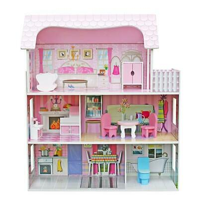 Large Children's Wooden Pink Dollhouse Fits Barbie Doll House Christmas Gift US