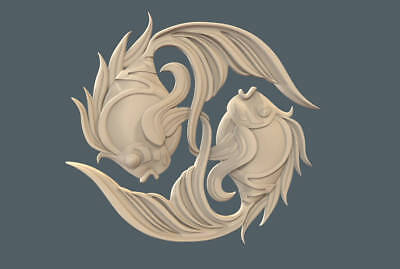 "3d stl Model for CNC Router Machine Artcam Vectric Aspire ""Fishes"" CNC files"