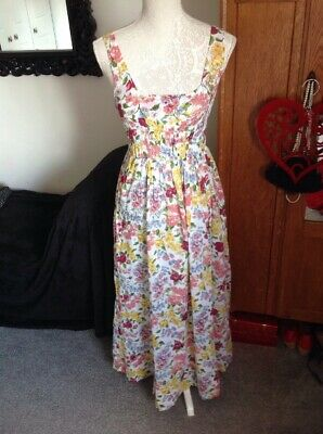 Pretty Floral Cath Kidston Lined Sun Dress Size 12 Elasticated Bodice 52'' Long
