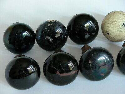 Vtg Antique Black Porcelain Marble (?) Door Knobs Lot of 8 Estate Lot