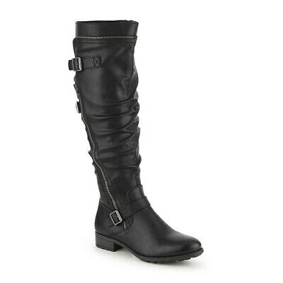 White Mountain Womens Remi Round Toe Knee High, Black/Burnished Smooth, Size 7.0
