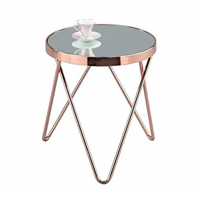 Copper//Clear -ST46CP LUCIA Glass Round Side EndTable//Coffee Table//Lamp Table