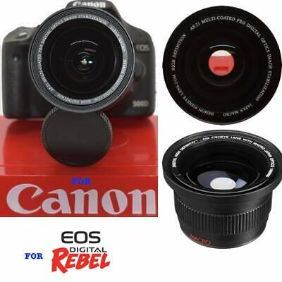 Hd5 220° Wide Angle Fisheye Lens For Canon Eos Rebel Sl1 1300D T6 T5 6D 60D 80D