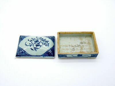 Antique Chinese Daoguang Blue & White Ink Box