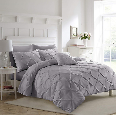 Fixtex White Pinch Pleat Pintuck Duvet Cover Set with Pillow Cases Includes –