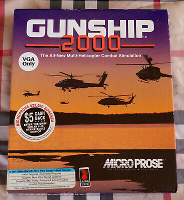 "1991 Big Box copy of Microprose Gunship 2000 for PC, rare 5.25"" Floppy version!"