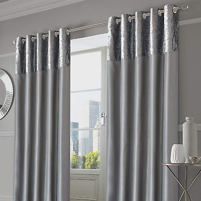 """Sienna Pair of Crushed Velvet Band Curtains Fully Lined Eyelet Ring Top Faux 90"""""""