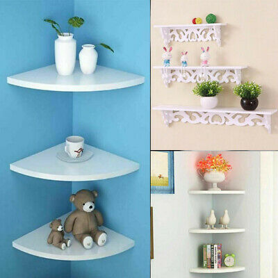 3 Modern Floating Wall Shelves Bookshelf Storage Display Corner Shelf Unit White