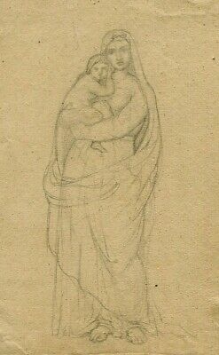 19th Old Pencil Drawing - Dessin Ancien - Mother, Baby, Kid, Religion