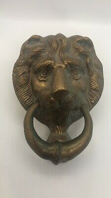 Antique Vintage Solid Brass Lion Head Face Door Knocker Architectural Salvaged