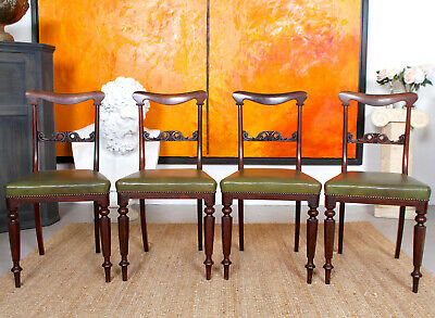 4 Antique Rosewood Dining Chairs Victorian Green Leather 19th Century