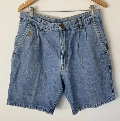 Vintage Faberge Ladies High Waisted Jean Shorts 80s 12 14 Light Wash Mum Fit